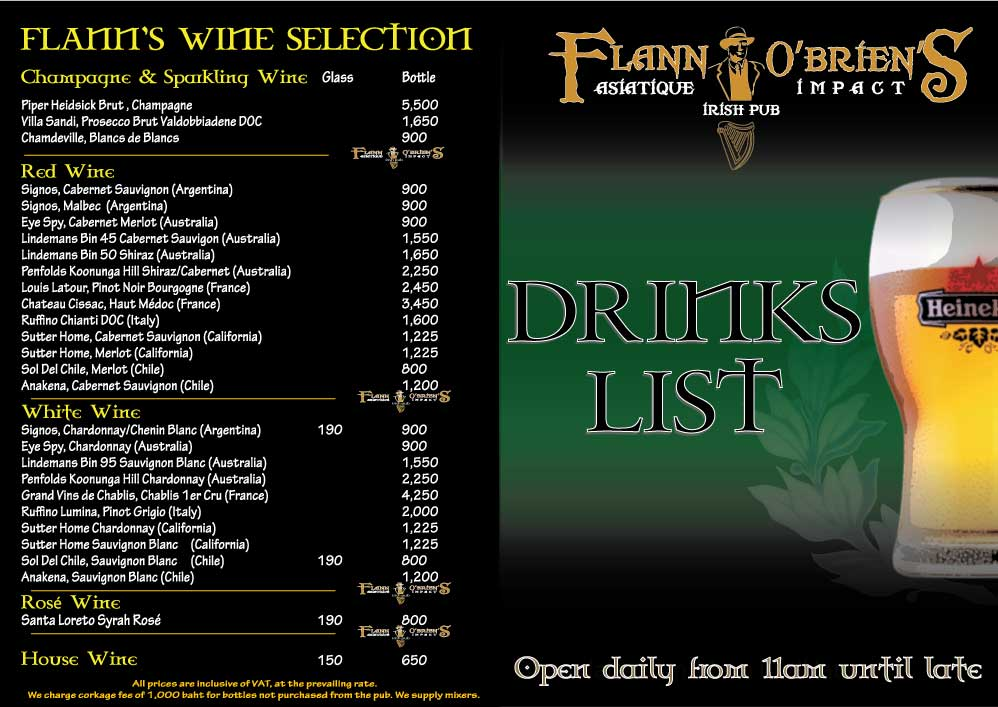 Flann Asiatique Wine List