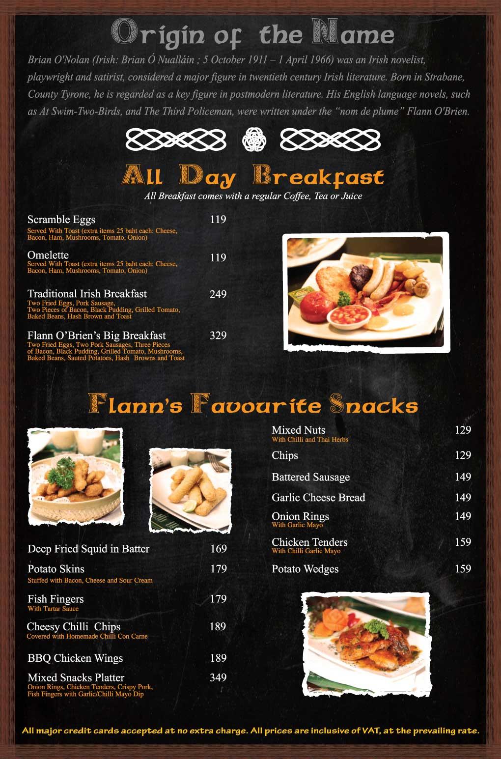 Flann Impact Food Menu Breakfast and Snacks