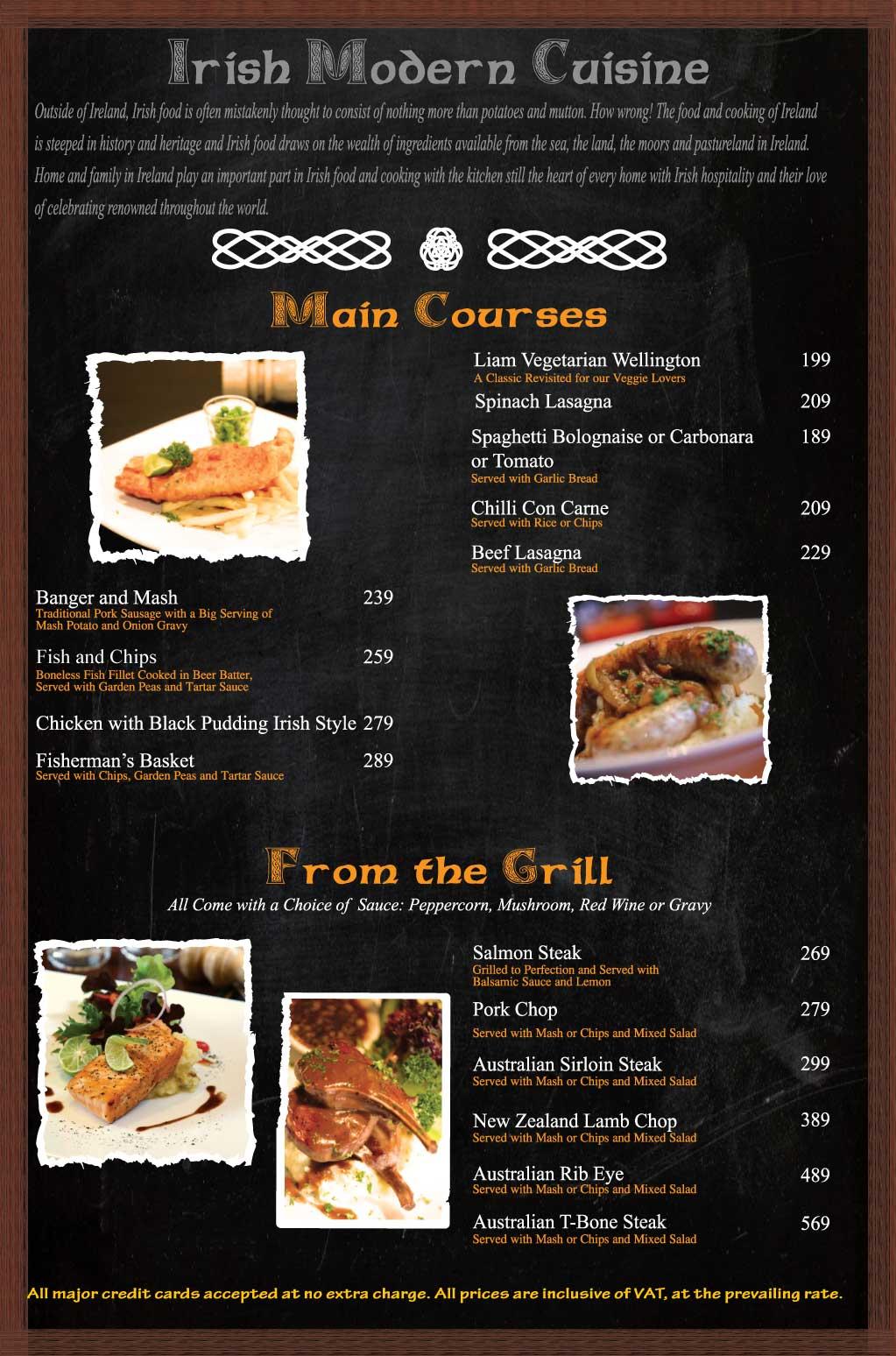 Flann Impact Food Menu Main Courses Grill