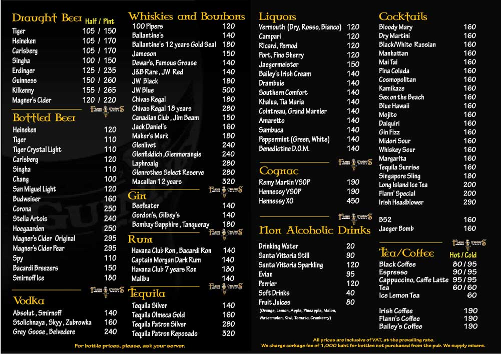 Flann Silome Drinks Menu 1