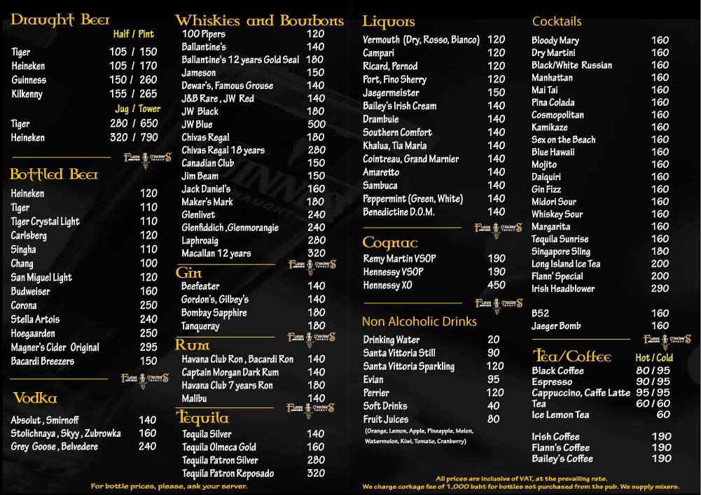 Flann Silom Drinks Menu 2