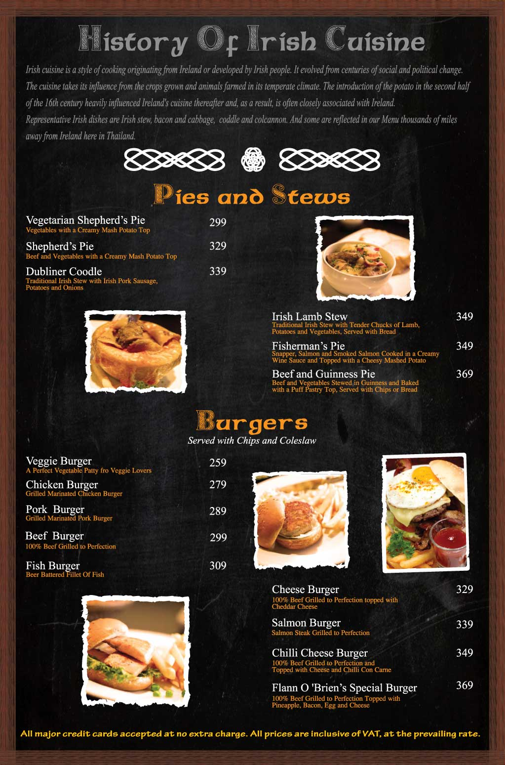 Flann Silom Food Menu Pies Stews Burgers
