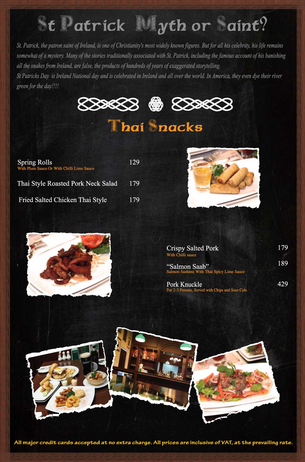 Flann Silom Food Menu Thai Snacks